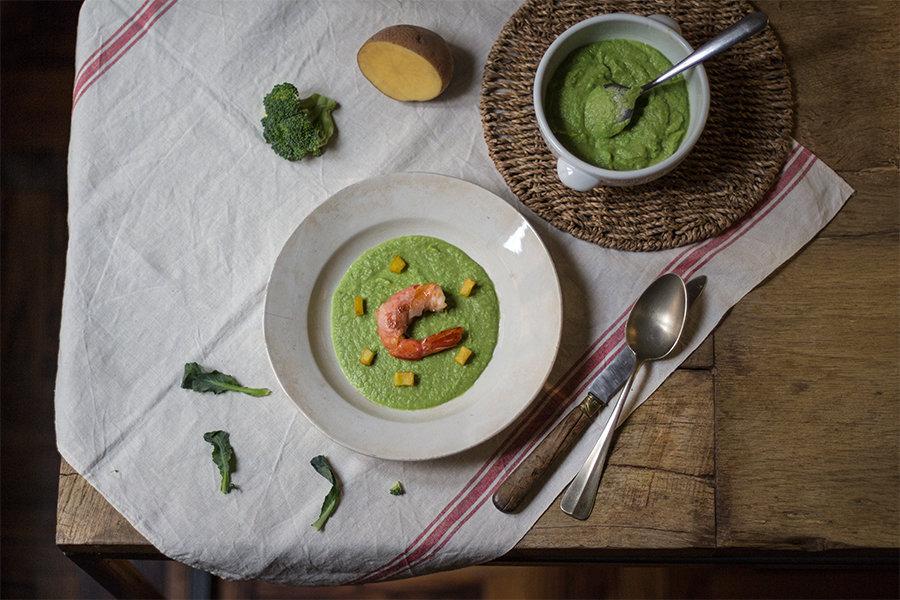 ricetta crema di verdure con prosciutto e gamberi