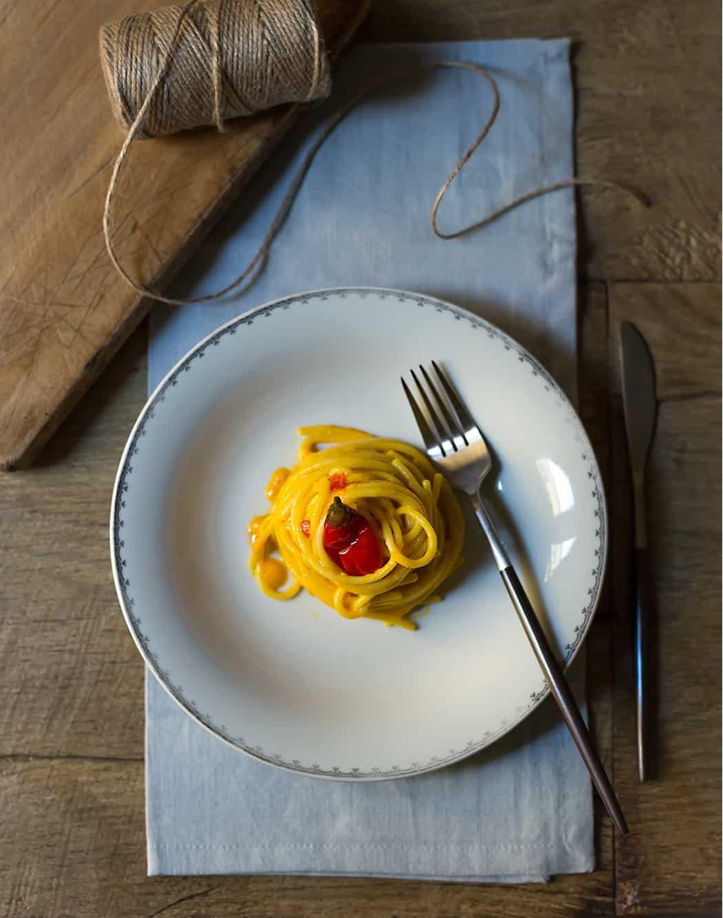 ricetta Spaghetti con crema di peperoni