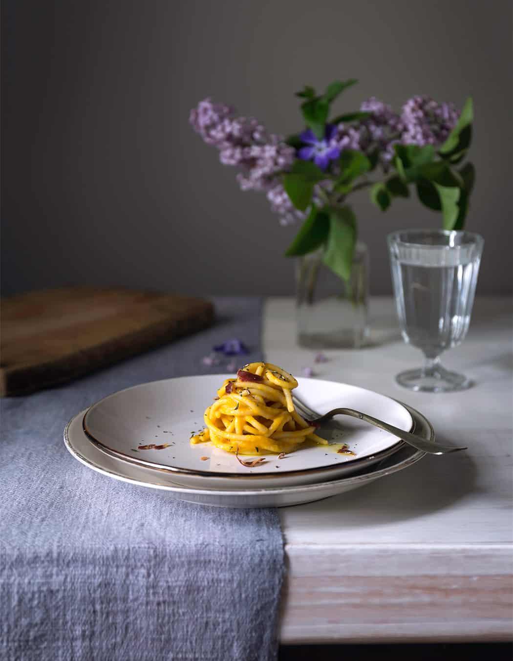 ricette spaghetti con carote e coppa di Parma