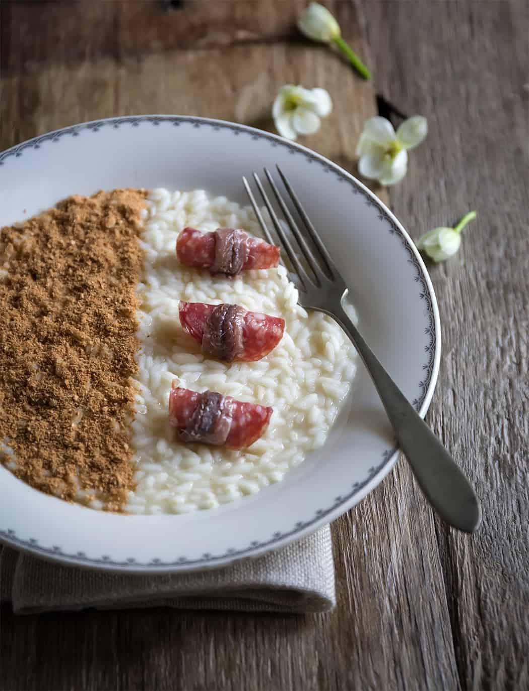 ricette risotti con salame acciuga