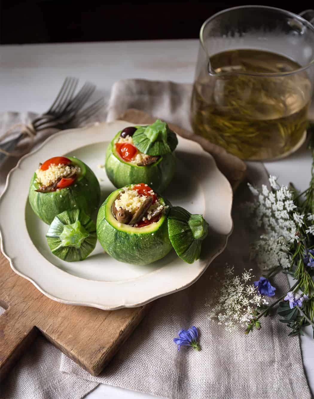 ricetta Bia cous cous con zucchine tonde ripiene