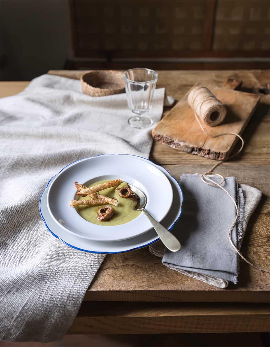 ricette crema di porri e filetti di alici