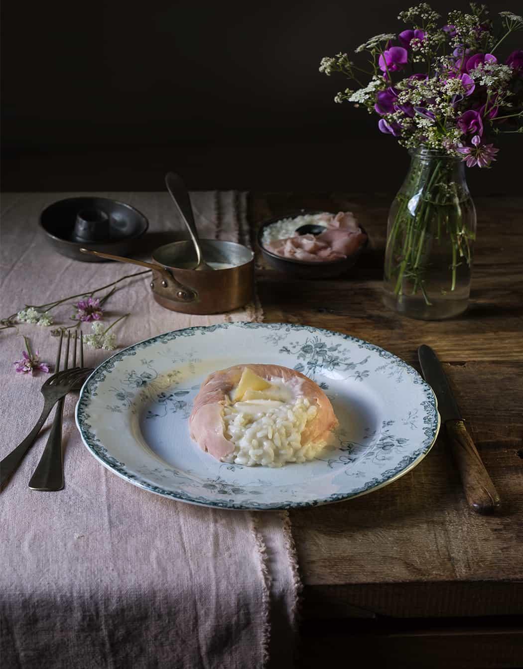 Savarin di riso con prosciutto cotto e parmigiano
