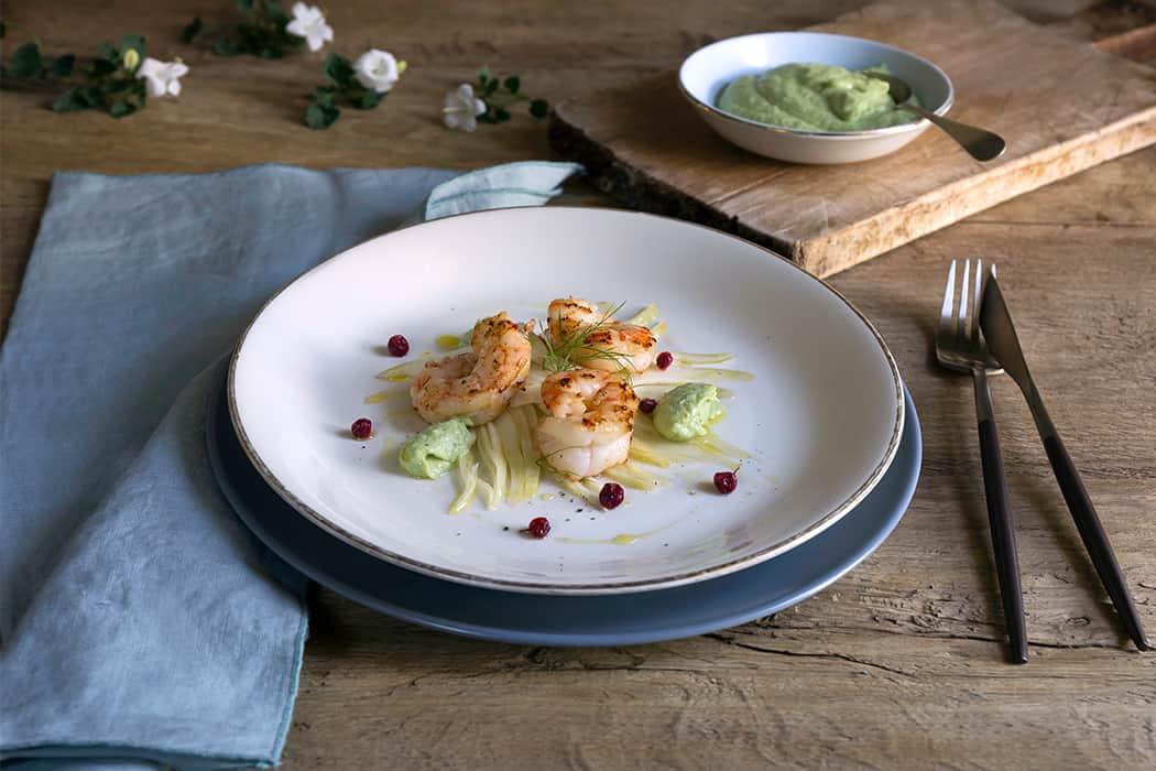 ricetta insalata di finocchi gamberoni e avocado
