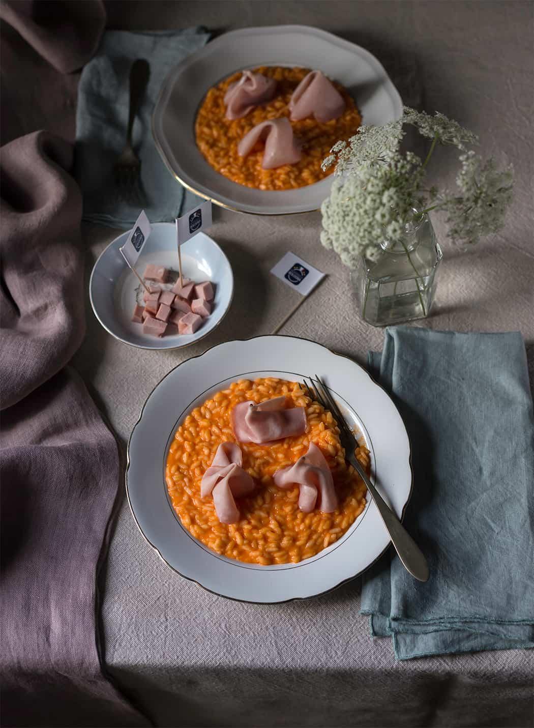 risotto con peperoni e mortadella Bologna