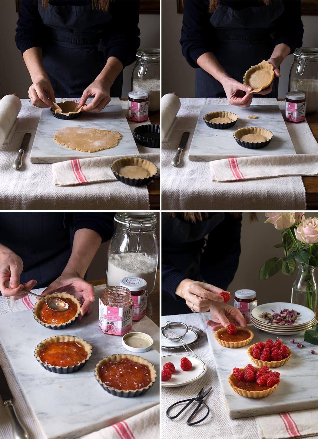 crostata con lamponi e petali di rosa Damascena