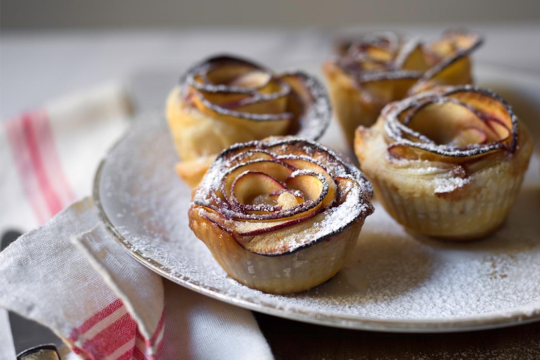 ricetta roselline con pasta sfoglia e mela