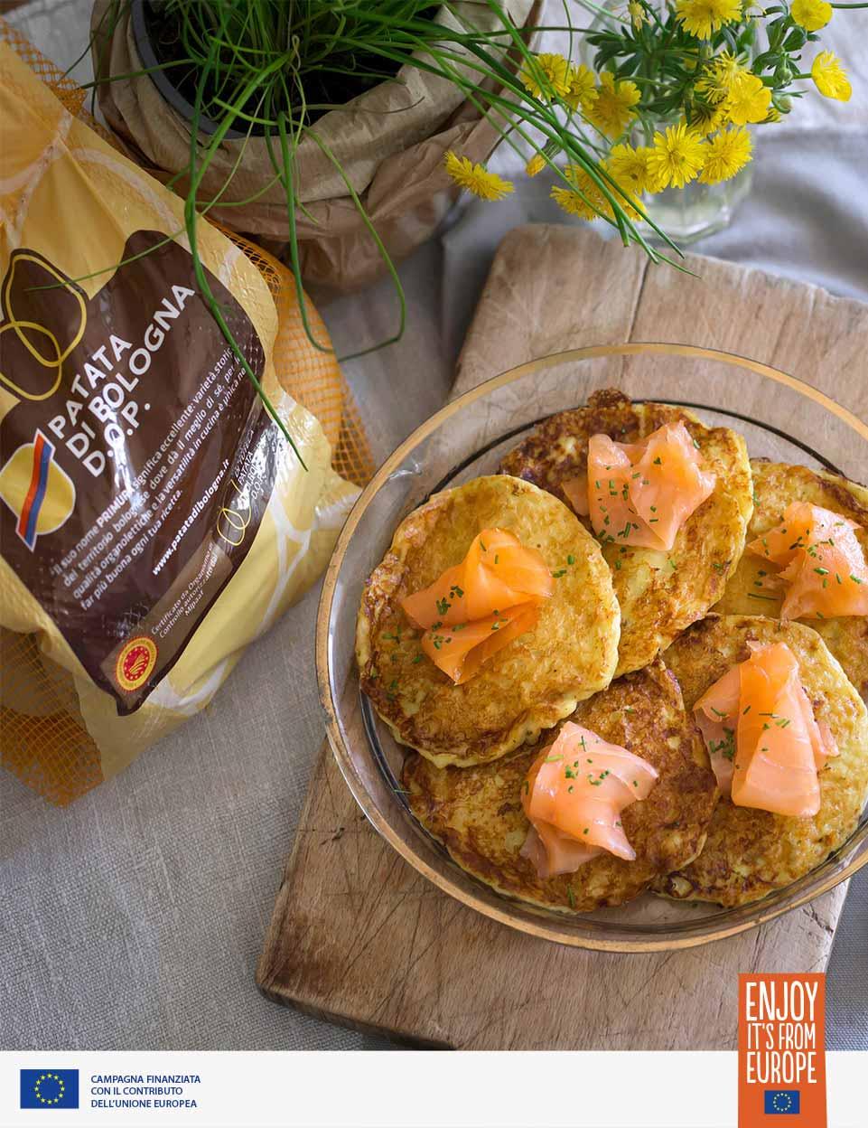 ricetta Pancake di patate con salmone affumicato