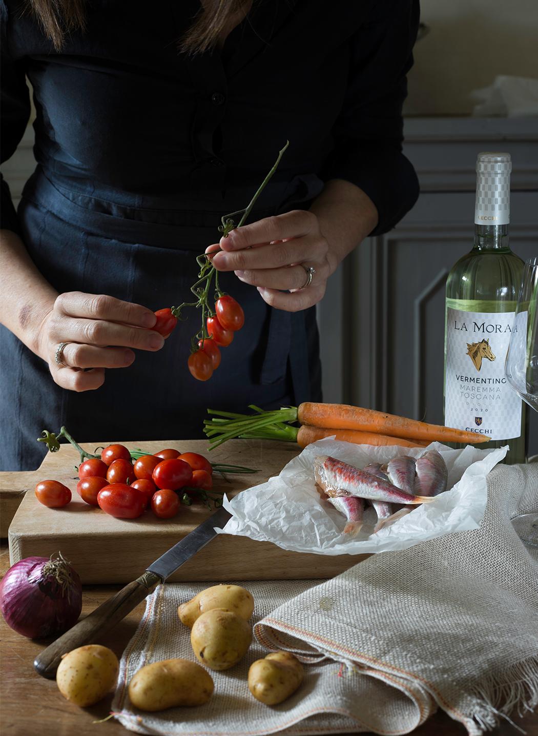 triglie in cartoccio con verdure di stagione