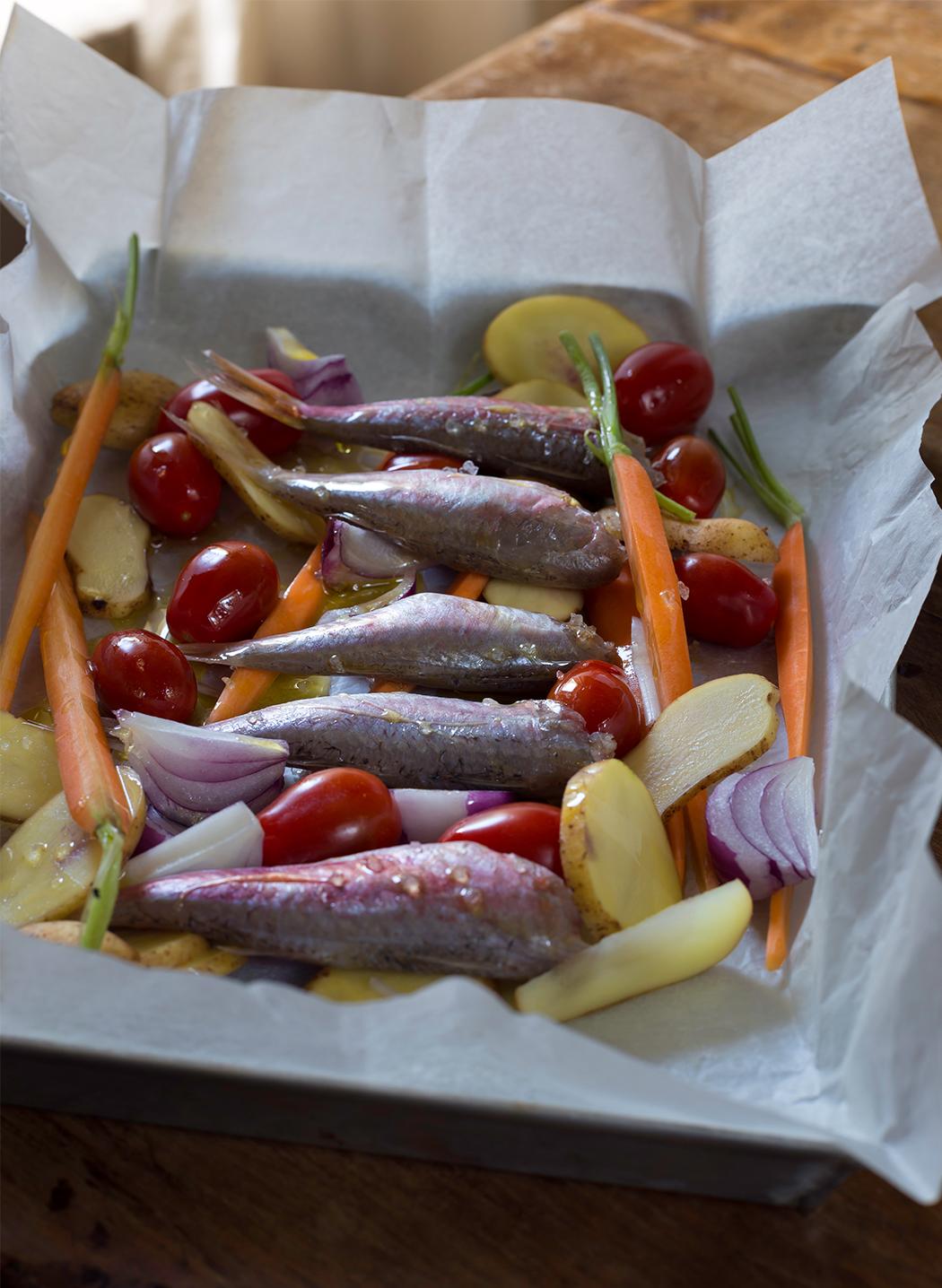 ricetta triglie in cartoccio con verdure