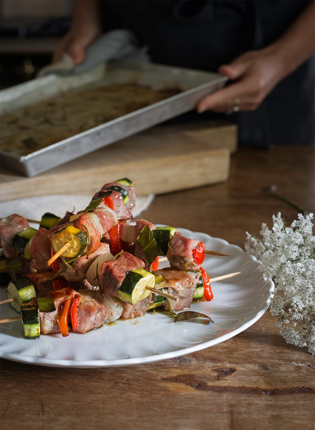 ricetta spiedini di vitello con verdure
